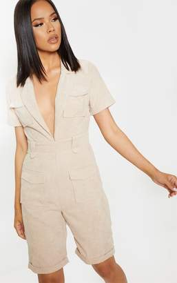 PrettyLittleThing Stone Cord Pocket Detail Plunge Playsuit