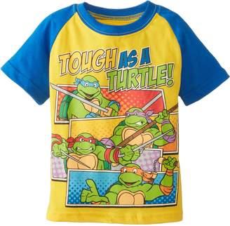 Nickelodeon Teenage Mutant Ninja Turtles Little Boys' TMNT Tough As A Turtle Short Sleeve Raglan Toddler Tee