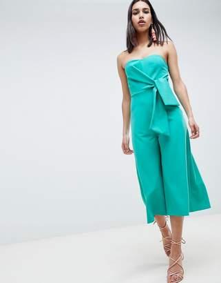 Asos Design DESIGN Bandeau Jumpsuit With Tie Detail And Culotte Leg