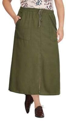 Lauren Ralph Lauren Plus Twill Drawstring Maxi Skirt