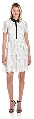 Tommy Hilfiger Women's Floral Outline Lace Shirt Dress