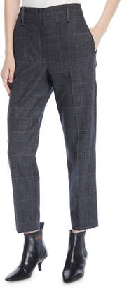 Brunello Cucinelli Straight-Leg Cropped Windowpane Plaid Pants w/ Monili Belt Loops