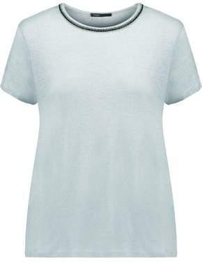 Maje Crystal-Embellished Linen T-Shirt