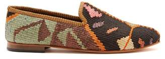 Artemis Design Shoes - Patterned Woven Kilim And Leather Loafers - Mens - Multi