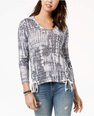 American Rag Juniors' Lace-Up Sweater, Created for Macy's