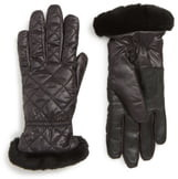UGG All Weather Touchscreen Compatible Quilted Gloves with Genuine Shearling Trim
