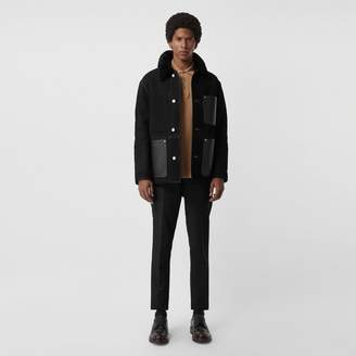 Burberry Leather Detail Shearling Workwear Jacket