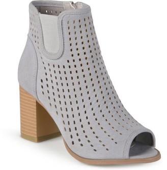 Brinley Co. Women's Faux Suede Chunky Heel Open Toe Booties