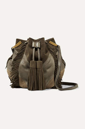Isabel Marant Kylio Fringed Suede And Leather Shoulder Bag - Army green