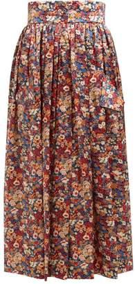The Vampire's Wife Visiting Floral Print Silk Charmeuse Midi Skirt - Womens - Orange Multi