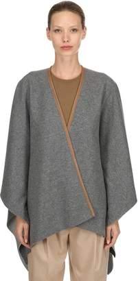 Agnona Cashmere Cape W/ Leather Trim