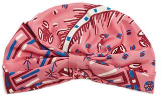 Valentino Abstract-print silk-satin turban hat