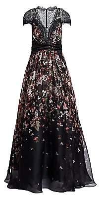 Pamella Roland Women's Custom Floral Organza Cap-Sleeve Gown