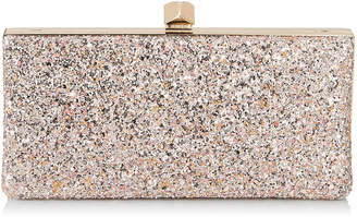 Jimmy Choo CELESTE/S Viola Mix Speckled Glitter Fabric Clutch Bag with Cube Clasp