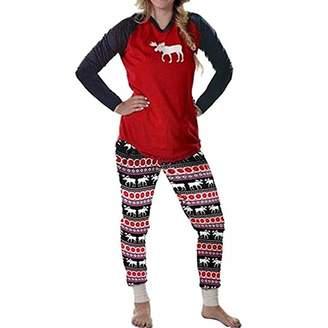 Abuyall Christmas Family Elk Matching Sleepwear Pajamas Set Nightwear
