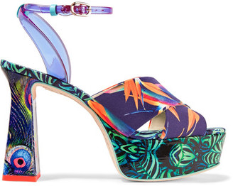 Sophia Webster - Effie Printed Leather And Vinyl Platform Sandals - Navy $550 thestylecure.com