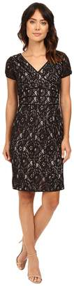 NUE by Shani V-Neck Lace Dress with Satin Piping Detail Women's Dress