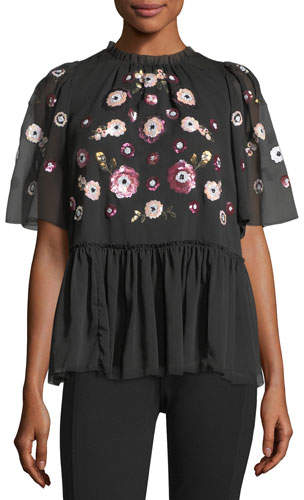 Kate Spade New York Madison High-Neck Chiffon Blouse W/ Sequins