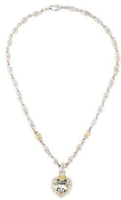 Judith Ripka Prasiolite & Diamond Heart Pendant Necklace