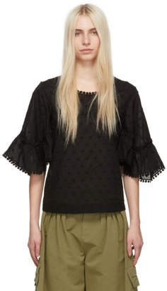 See by Chloe Black Cotton Blouse