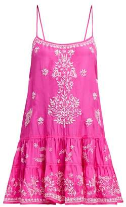Juliet Dunn Mirror Work Silk Satin Mini Dress - Womens - Dark Pink