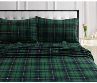 Cambridge Silversmiths Tribeca Living Plaid 170-Gsm Cotton Flannel Printed Extra Deep Pocket Queen Sheet Set Bedding