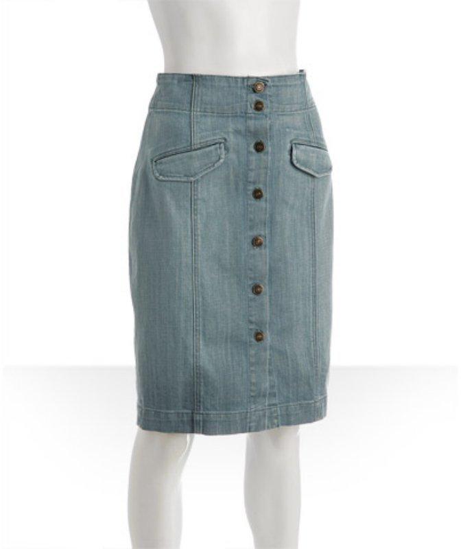 7 for All Mankind light wash denim high waist pencil skirt
