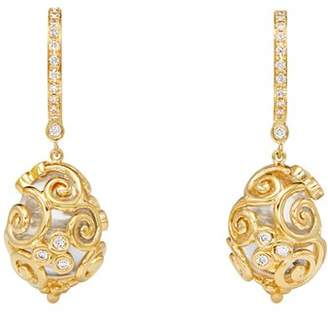Temple St. Clair 18K Yellow Gold Lattice Rock Crystal & Diamond Amulet Earrings