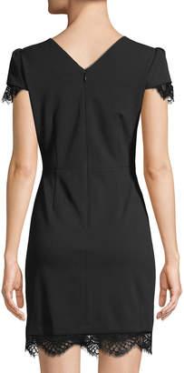 Betsey Johnson Lace-Trim Short-Sleeve Scuba Dress