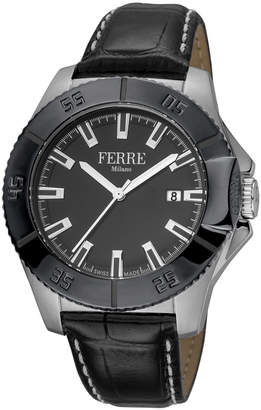 Ferré Milano Men's 45mm Stainless Steel Date 3-Hand Diver Watch with Leather Strap, Black/Steel