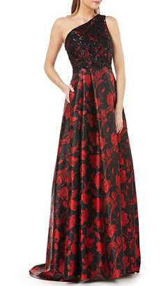 Carmen Marc Valvo One-Shoulder Ballgown