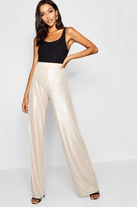boohoo Tall Metallic Wide Leg Trousers