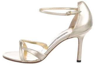 Manolo Blahnik Leather Round-Toe Sandals