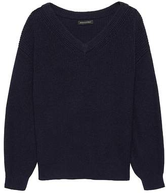 Banana Republic Wool-Cotton Blend Ribbed V-Neck Sweater