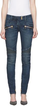 Balmain Blue Biker Jeans $1,310 thestylecure.com