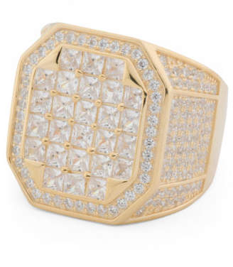 Men's 14k Gold Plated Sterling Silver Pave Cz Ring
