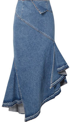 Monse Asymmetric Denim Midi Skirt - Mid denim