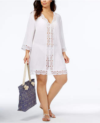 LaBlanca La Blanca Plus Size Cotton Sheer Crochet-Trim Cover-Up