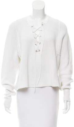 Tess Giberson Lace-Up Long Sleeve Sweater
