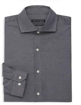 Saks Fifth Avenue Trim-Fit Denim Dobby Dress Shirt