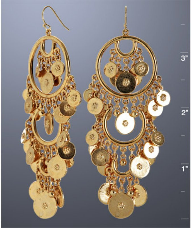 Ben-Amun gold coin tiered chandelier earrings