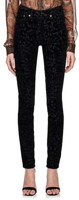 Good Selling Online Womens Leopard Velvet Skinny Jeans Saint Laurent Wiki Cheap Price ISFRFeZsm