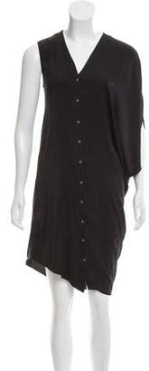 Helmut Lang One-Sleeve V-Neck Dress