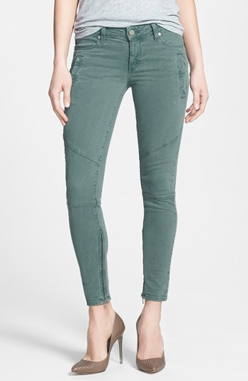 Paige 'Marley' Zip Detail Seamed Skinny Jeans (Poseidon)