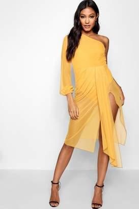 boohoo One Shoulder Mesh Drape Mini Dress