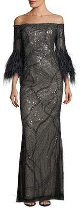 Rickie Freeman For Teri Jon Off-the-Shoulder Sequined Evening Gown