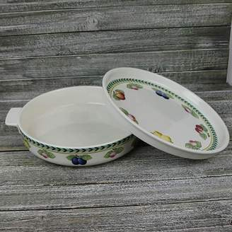 Villeroy & Boch French Garden Large Round Baking Dish With Lid/Serving Plate