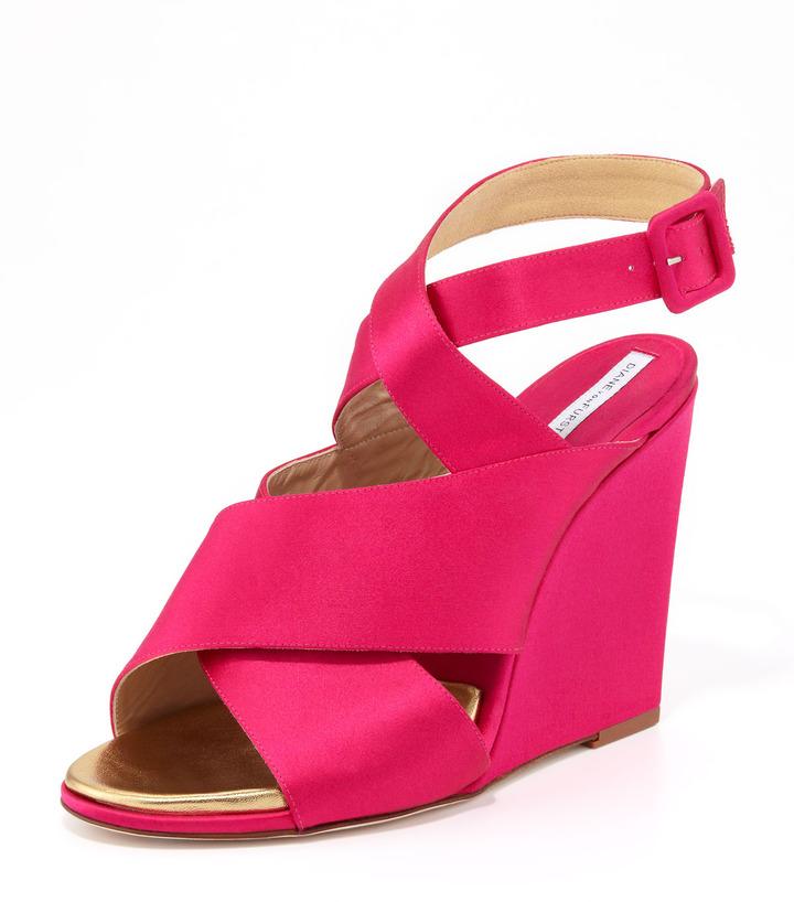 Diane von Furstenberg Wynne Crisscross Wedge Sandal, Pink