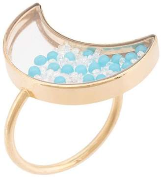 Moritz Glik Moon ring with turquoises & white saphires
