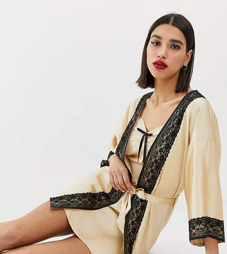 PrettyLittleThing kimono night robe with lace trim in cream satin